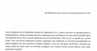 FELICITACIÓN POR EL DESARROLLO Y PARTICIPACIÓN DEL OPEN ISLA DE GRAN CANARIA