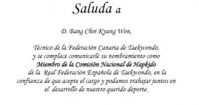 BANG KYUNG WON MIEMBRO DE LA COMISIÓN NACIONAL DE HAPKIDO