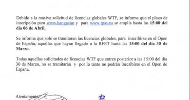 CIRCULAR OPEN DE ESPAÑA: INFORMACIÓN PARA CLUBES