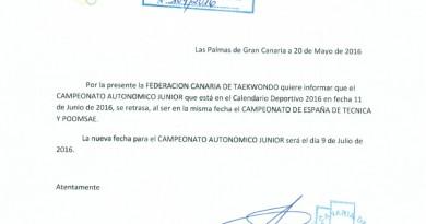 CAMBIO FECHA AUTONÓMICO JÚNIOR