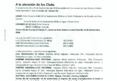 CONVOCATORIA CURSOS DE ARBITRAJE DE COMBATE Y TÉCNICA